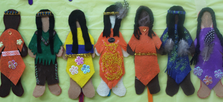 Faceless Dolls created by residents of Winona's Place at the YWCA Toronto Elm Centre.