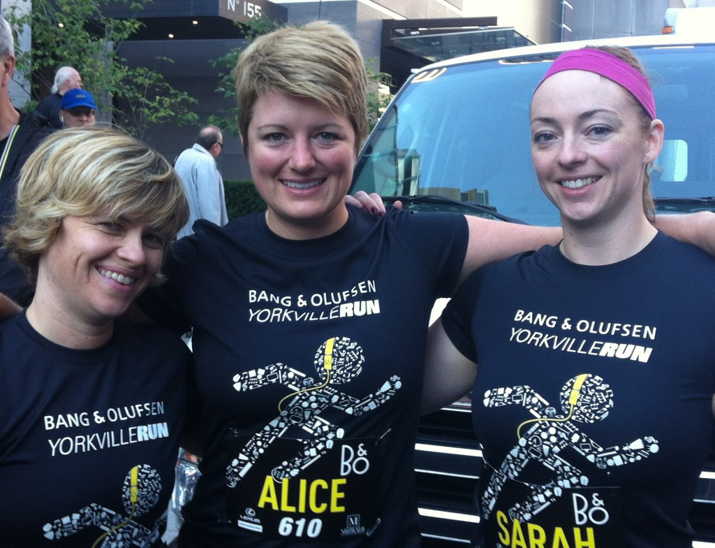 Alice Longhurst (centre) at the finish line of the B&O Yorkville Run, with friends Michelle Hunwicks (left) and Sarah Macauley (right)